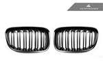 Replacement Dual Slats Stealth Black Front Grilles - F20 1 Series