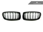 Replacement Dual Slats Stealth Black Front Grilles - F30 3-Series