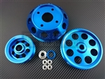 P2M Nissan S13 SR20DET 3 Piece Pulley Kit - Blue