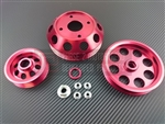 P2M Nissan S13 SR20DET 3 Piece Pulley Kit - Red